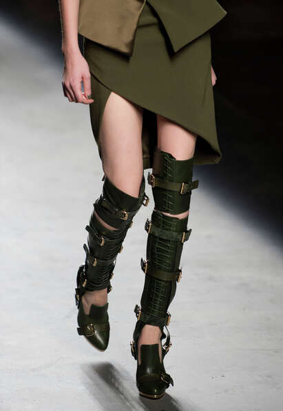 Matching strappy boots. Prabal Gurung fashion week.
