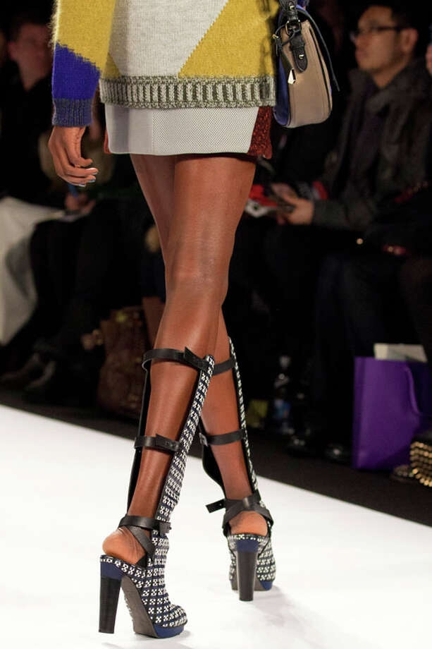 Strappy boots. Rebecca Minkoff Fall 2013.  Photo: Karly Domb Sadof, AP/Getty / AP