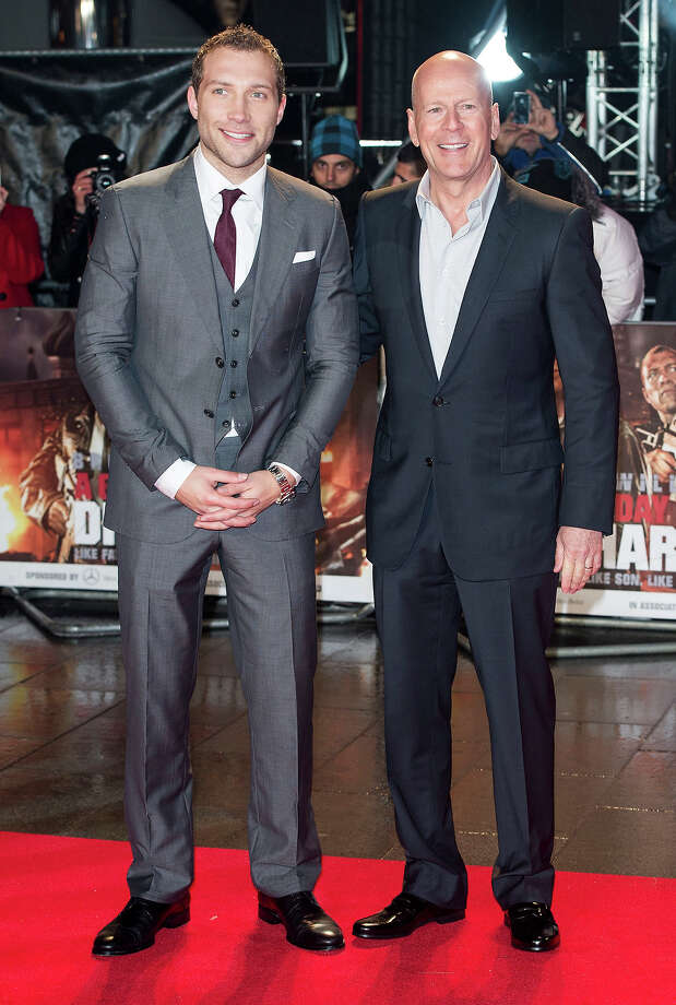 LONDON, ENGLAND - FEBRUARY 07:  Jai Courtney and Bruce Willis attend the UK Premiere of 'A Good Day To Die Hard' at Empire Leicester Square on February 7, 2013 in London, England. Photo: Mark Cuthbert, UK Press Via Getty Images / 2013 Mark Cuthbert