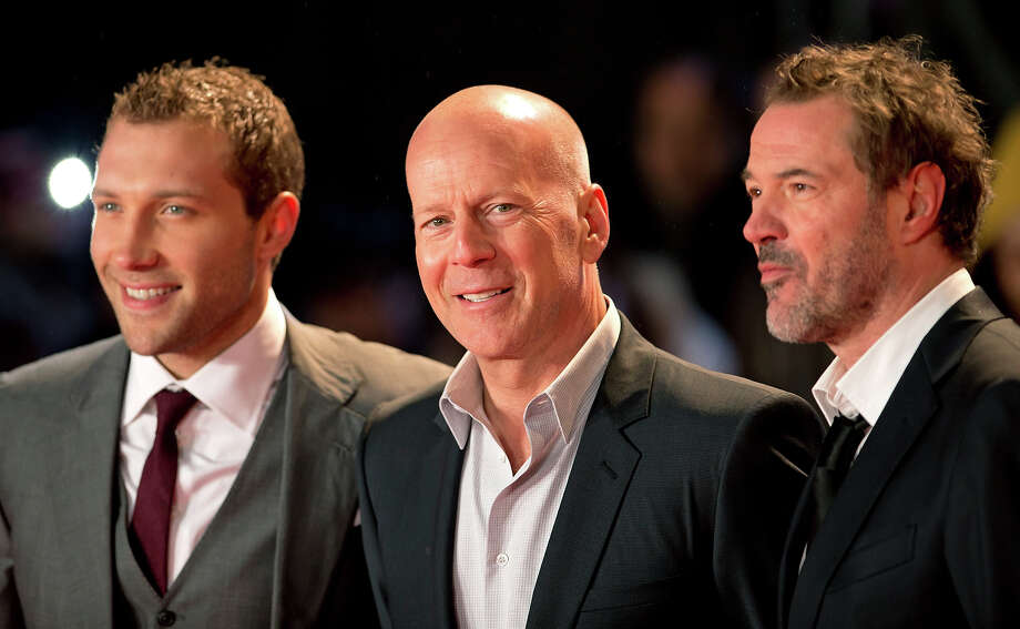 LONDON, UNITED KINGDOM - FEBRUARY 07: (EMBARGOED FOR PUBLICATION IN UK NEWSPAPERS UNTIL 48 HOURS AFTER CREATE DATE AND TIME) Jai Courtney, Bruce Willis and Sebastian Koch attend the UK Premiere of 'A Good Day To Die Hard' at Empire Leicester Square on February 7, 2013 in London, England. Photo: Indigo, Getty Images / 2013 Indigo