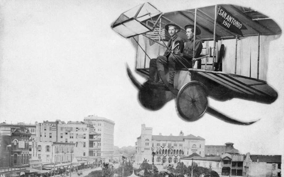 A photo postcard shows two Army soldiers flying over Alamo Plaza in 1911. The nation's first flying school was located at Kelly Field. Photo: Courtesy Arcadia Publishing
