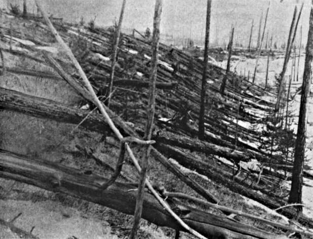 The Tunguska Event, or Tunguska Explosion, 30 June 1908, near the Podkamennaya, Tunguska River, Krasnoyarsk Krai, Russia. Cause disputed, but generally accepted as caused by a meteorite. Detail of blasted trees. (Photo by Universal History Archive/Getty Images)