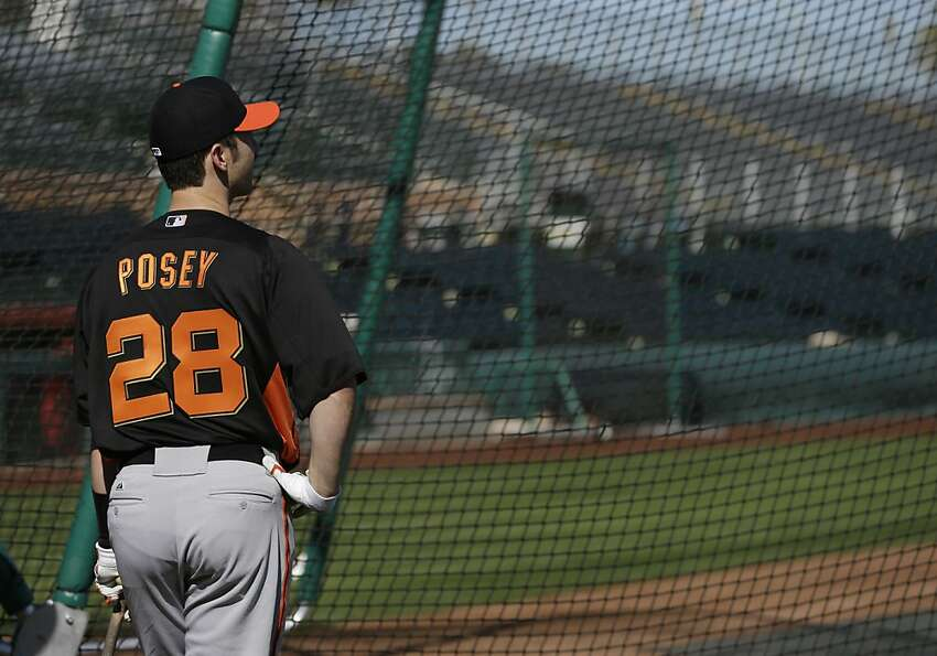 San Francisco Giants' Buster Posey waits to hit during a spring training baseball workout Wednesday,