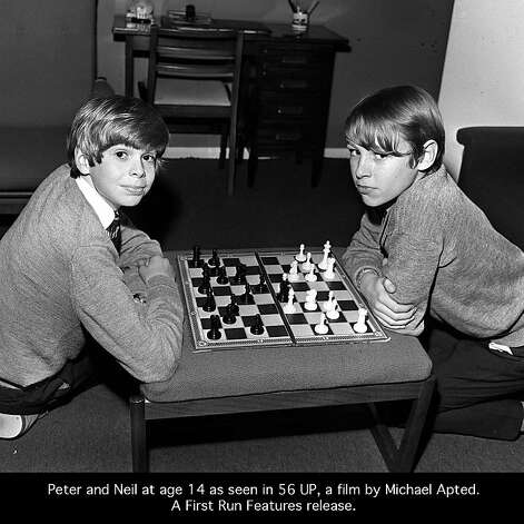 "Neil and Peter playing chess in ""14 Up,"" 1971. Photo: ITV"