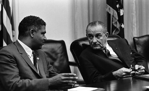 "President Lyndon Johnson (right) found a kindred political animal in Whitney Young Jr., which aided the passing of the 1964 Civil Rights Act. Young's skills are explored in an ""Independent Lens"" documentary. Photo: Lyndon Baines Johnson Library, PBS"