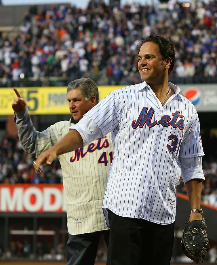 NEW YORK - APRIL 13:  Former Mets players Tom Seaver and Mike Piazza greet fans before throwing out the first pitch of the San Diego Padres against the New York Mets during opening day at Citi Field on April 13, 2009 in the Flushing neighborhood of the Queens borough of New York City. This is the first regular season MLB game being played at the new venue which replaced Shea stadium as the Mets home field.  (Photo by Jim McIsaac/Getty Images) Photo: Jim McIsaac, Getty Images