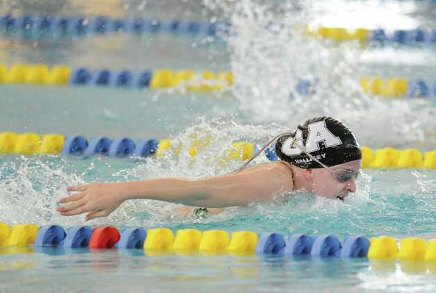 Olivia Hallisey of Greenwich Academy swims the butterfly while competing in the 200 medley relay during the high school swim meet at the YMCA of Greenwich, Wednesday afternoon, Feb. 13, 2013. Photo: Bob Luckey / Greenwich Time