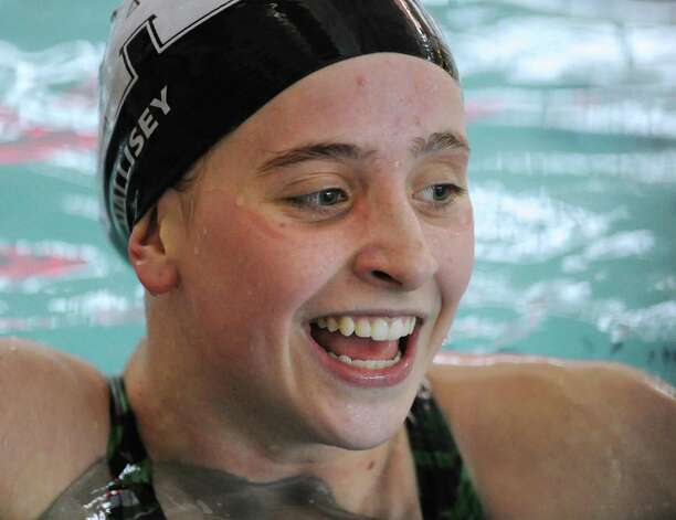 Olivia Hallisey of Greenwich Academy reacts after winning the 200 freestyle during the high school swim meet at the YMCA of Greenwich, Wednesday afternoon, Feb. 13, 2013. Photo: Bob Luckey / Greenwich Time