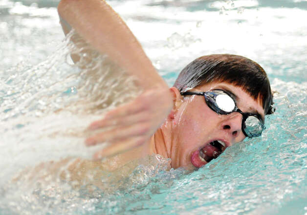 Scott DeAngelo of Brunswick competes in the 200 freestyle event during the high school swim meet at the YMCA of Greenwich, Wednesday afternoon, Feb. 13, 2013. Photo: Bob Luckey / Greenwich Time