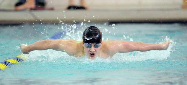 Pat Stefanou of Brunswick swims the 200 butterfly during the high school swim meet at the YMCA of Greenwich, Wednesday afternoon, Feb. 13, 2013. Photo: Bob Luckey / Greenwich Time