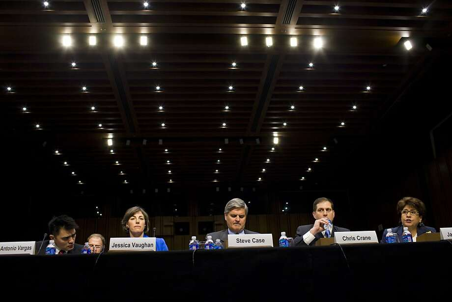 Journalist Jose Antonio Vargas (left), Jessica Vaughan, AOL chief executive Steve Case, Chris Crane of the ICE employees union and National Council of La Raza CEO Janet Murguia testify. Photo: Christopher Gregory, New York Times