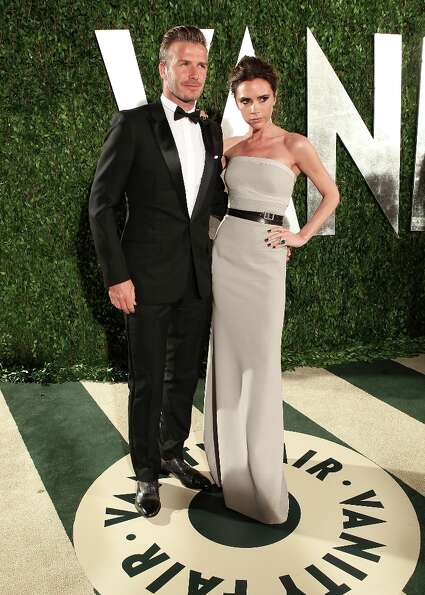 David and Victoria Beckham attends the 2012 Vanity Fair Oscar Party Hosted By Graydon Carter at Suns