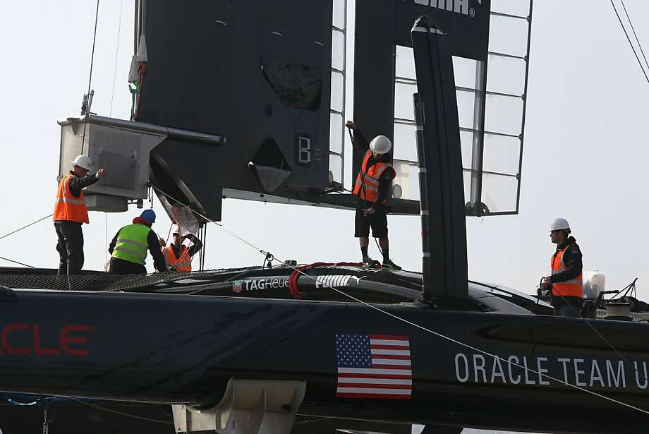 Oracle Team USA AC72 is once again intact after its wing was destroyed in an October capsize. Photo: Liz Hafalia, The Chronicle