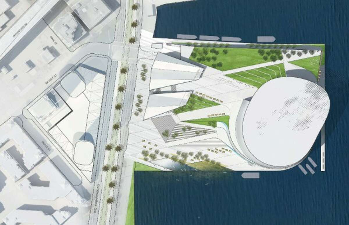 The Golden State Warriors' initial arena proposal has part of the arena jutting out over the eastern edge of Piers 30-32 and doesn't leave enough room along that side to berth a cruise ship. (Rendering courtesy of Golden State Warriors)