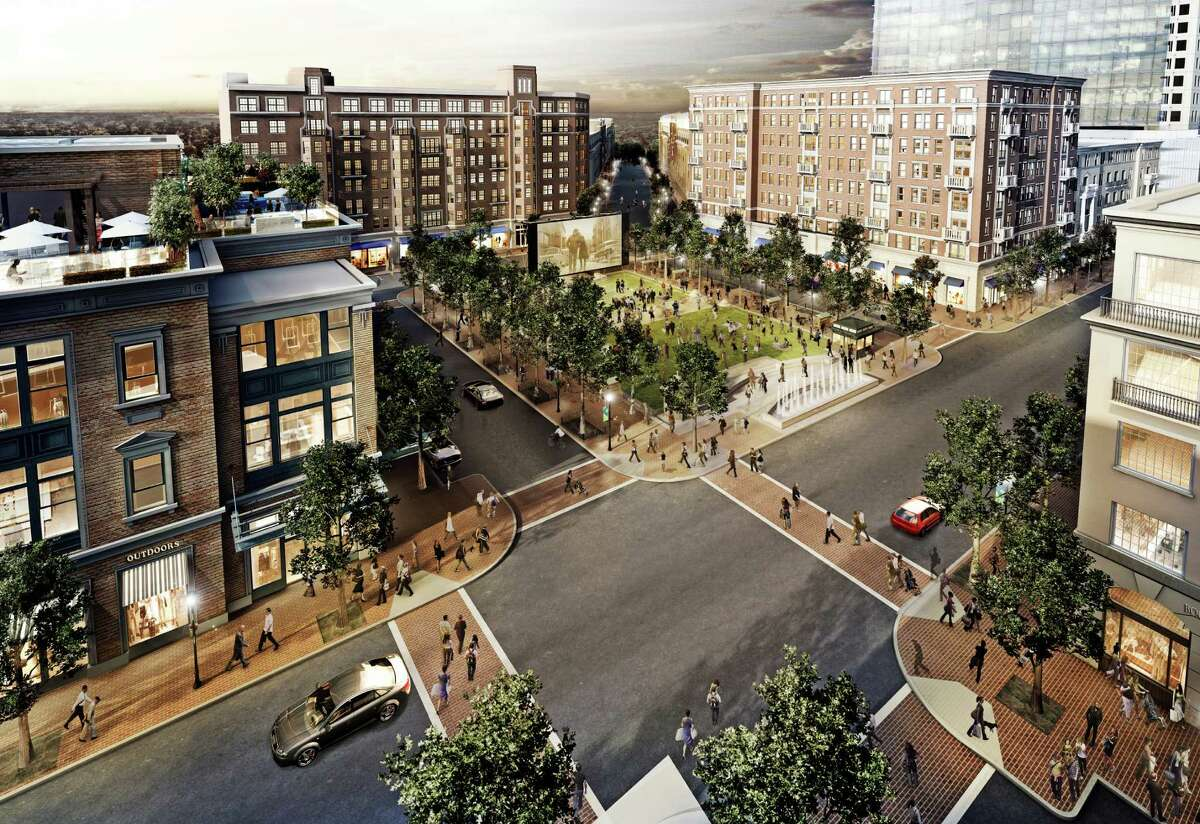 This rendering shows the second phase of the Regent Square development in Houston's Inner Loop. It will include an Alamo Drafthouse Cinema and outdoor movies shown in the park.