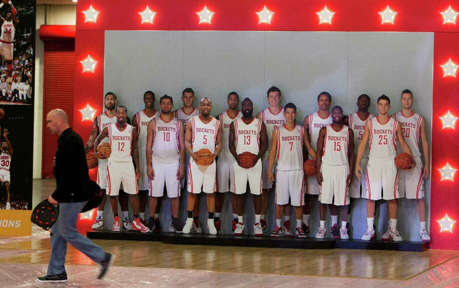 For some fans, the closest they'll get to seeing the Rockets this season might be the life-size cutouts of the players that will be available for photos during the NBA Jam Session at the George R. Brown Convention Center. The Jam Session begins today and runs through Sunday. Photo: Cody Duty, Staff / © 2013 Houston Chronicle