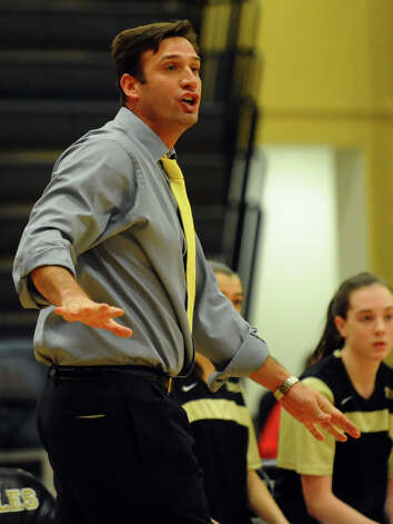 Trumbull Head Coach Steve Tobitsch, during girls basketball action against Danbury in Trumbull, Conn. on Wednesday February 13, 2013. Photo: Christian Abraham / Connecticut Post