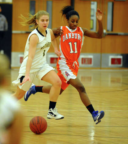 Girls basketball action between Trumbull and Danbury in Trumbull, Conn. on Wednesday February 13, 2013. Photo: Christian Abraham / Connecticut Post