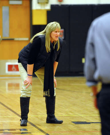 Danbury Head Coach Jackie DiNardo, during girls basketball action against Trumbull in Trumbull, Conn. on Wednesday February 13, 2013. Photo: Christian Abraham / Connecticut Post