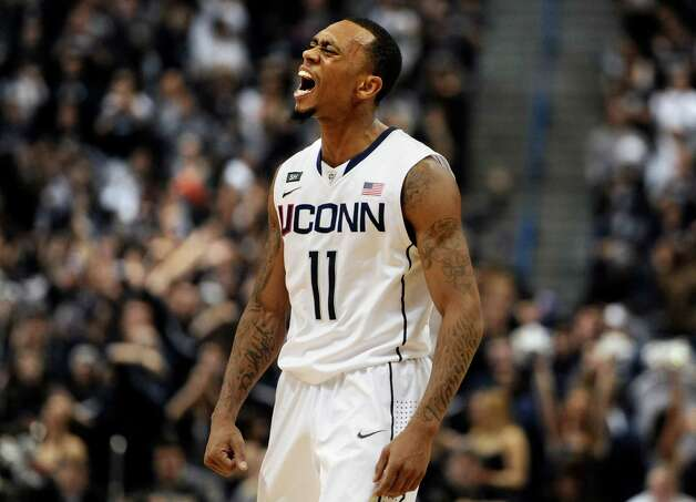 Connecticut's Ryan Boatright reacts in the second half of an NCAA college basketball game against Syracuse in Hartford, Conn., Wednesday, Feb. 13, 2013. Connecticut won 66-58. (AP Photo/Jessica Hill) Photo: Jessica Hill, Associated Press / FR125654 AP