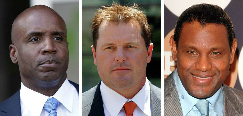 Three of the Major League Baseball players who might never get to the Hall of Fame due to reports of using performance enhancing drugs: Former San Francisco Giants slugger Barry Bonds (left), former Astros and Yankees pitcher Roger Clemens (center) and former Cubs slugger Sammy Sosa. Photo: Uncredited, Associated Press / AP