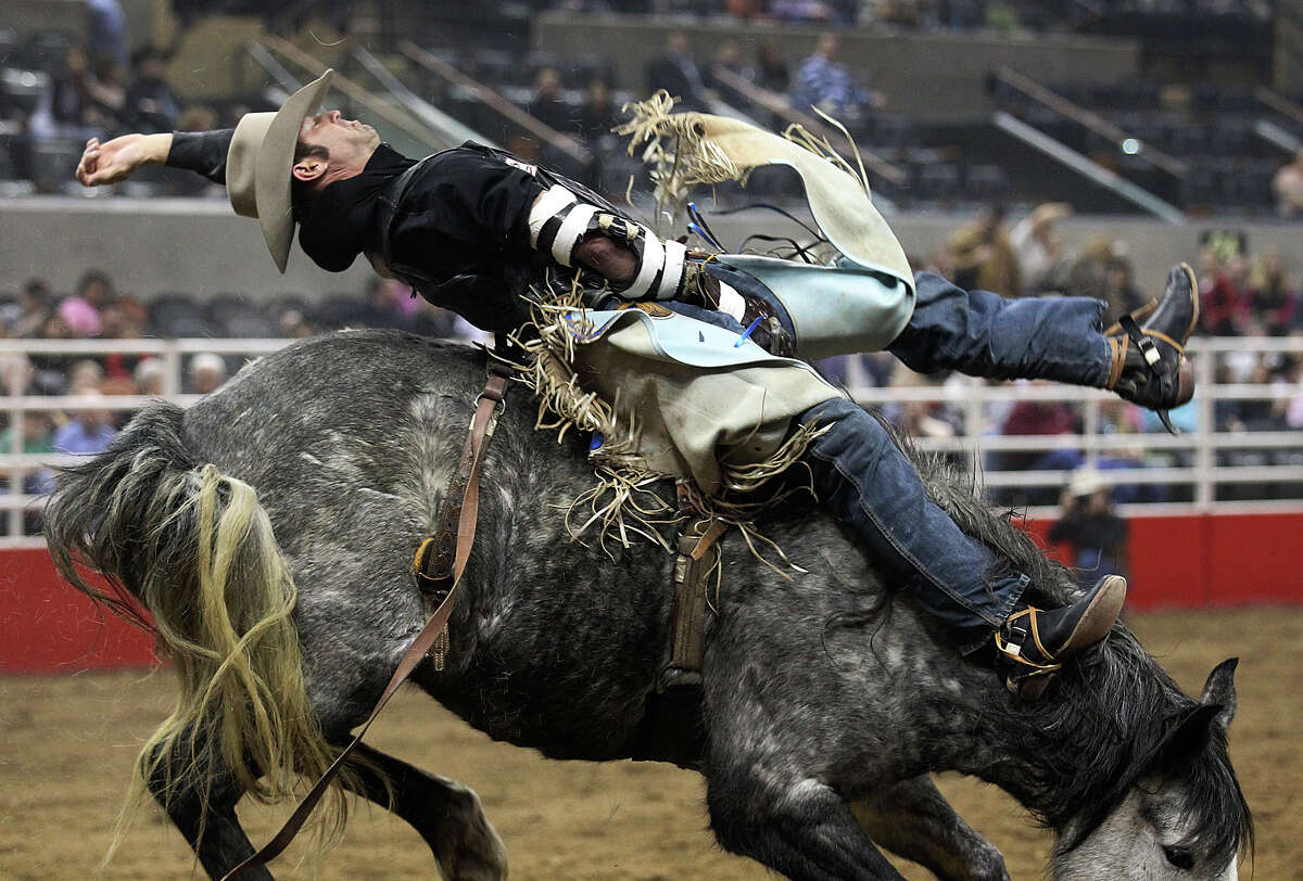 Steven Anding from Athens, Texas competes in the bareback riding competition at the 2013 San Antonio Stock Show and Rodeo on Wednesday, Feb. 13, 2013.