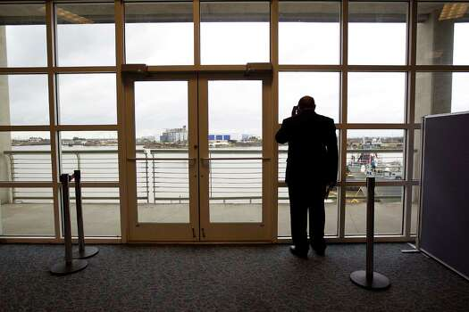 Samuel Jones, mayor of Mobile, Ala., looks out at Mobile Bay after a press conference as the city prepared for the return of the stranded Carnival Triumph ship at the Alabama Cruise Terminal Wednesday, Feb. 13, 2013, in Mobile. Photo: Johnny Hanson, Houston Chronicle / © 2013  Houston Chronicle