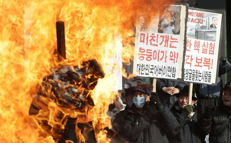 SEOUL, SOUTH KOREA - FEBRUARY 13:  South Korean conservative protesters participate in a rally a day after North Korea announced they have conducted a third nuclear test on February 13, 2013 in Seoul, South Korea. North Korea claimed the device was smaller than in previous tests. Leaders around the world have condemned the nuclear test and have called for swift action against the reclusive country.  (Photo by Chung Sung-Jun/Getty Images) *** BESTPIX *** Photo: Chung Sung-Jun, Getty Images