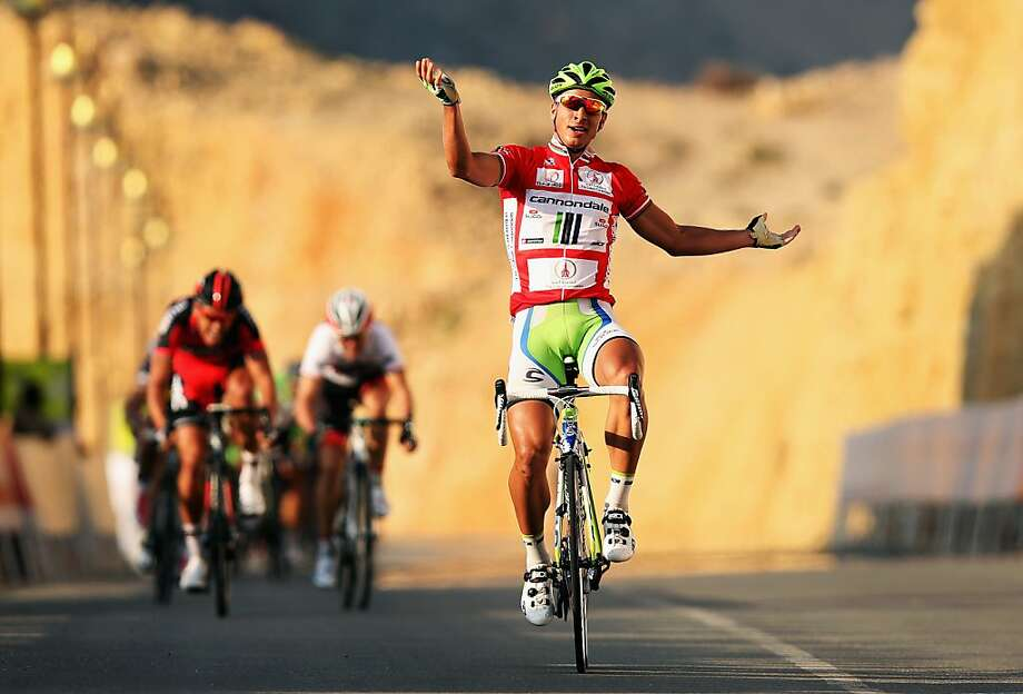 WADI DAYQAH DAM, OMAN - FEBRUARY 13:  Race leader Peter Sagan of Slovakia and Cannondale celebrates winning stage three of the 2013 Tour of Oman from Nakhal Fort to Wadi Dayqah Dam on February 13, 2013 in Wadi Dayqah Dam, Oman.  (Photo by Bryn Lennon/Getty Images) *** BESTPIX *** Photo: Bryn Lennon, Getty Images