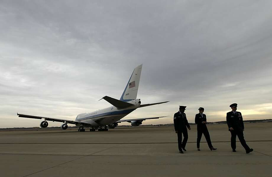 Air Force One with President Barack Obama aboard departs at Andrews Air Force Base, in Md. on Wednesday, Feb. 13,  2013, as he travels to Asheville, N.C. after delivering his State of the Union address Tuesday. ( AP Photo/Jose Luis Magana) Photo: Jose Luis Magana, Associated Press