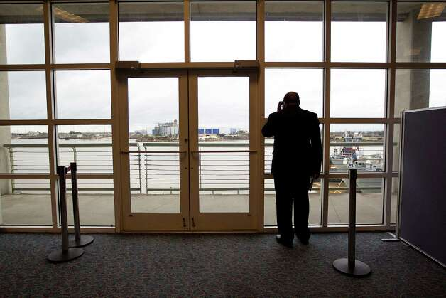Samuel Jones, mayor of Mobile, Ala., looks out at Mobile Bay after a press conference as the city prepared for the return of the stranded Carnival Triumph. Photo: Johnny Hanson, Staff / © 2013  Houston Chronicle