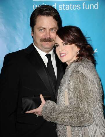 "Back in 2000, Nick Offerman was working in a Los Angeles theatre production with  Megan Mullally. He had moved from Chicago and was so broke he didn't have a television, so he hadn't seen her role on ""Will and Grace."" But he was wildly impressed with her talent, so he asked her out and they married three years later. After Offerman learned he was cast as Ron Swanson on ""Parks and Recreation"" after months of tryouts, Mullally retrieved a note she'd written six months earlier and hidden in their bathroom. ""Nick is getting this job on ""The Office' spinoff,"" she had written, correctly predicting he'd win the part with his talent. She also plays Swanson's second ex-wife on the show, Tammy Two, and Offerman has said in interviews the on-screen performance work so well because of their real-life marriage. ""A big part of this happening is being married to this crazy comedy legend,"" Offerman said in an interview last year. ""She has been such a great supportive coach."""