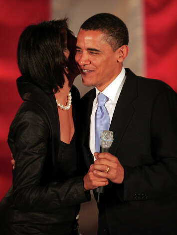 "President Barack Obama met the former Michelle LaVaughn Robinson when she was 25 and he was 27 and they both worked at a Chicago law firm. Obama said he asked her out several times before she finally relented. I'm your adviser; it's not appropriate, she said, according to Obama's recollection in a 2007 Oprah Magazine article. ""Finally, I offered to quit my job, and at last she relented. On our first date, I treated her to the finest ice cream Baskin-Robbins had to offer, our dinner table doubling as the curb. I kissed her, and it tasted like chocolate."" The B&R is gone, but a plaque with their photo marks where it once was. Photo: Getty Images"