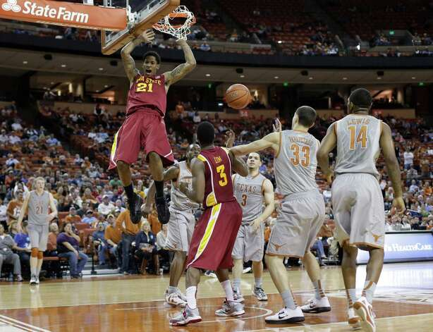 Iowa State's Will Clyburn scores against Texas during the second half of an NCAA college basketball game, Wednesday, Feb. 13, 2013, in Austin, Texas. (AP Photo/Eric Gay) Photo: Eric Gay, Associated Press / AP