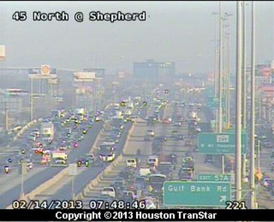 Two wrecks snarled traffic on the North Freeway near Gulf Bank during rush hour Thursday morning. Photo: Houston Transtar