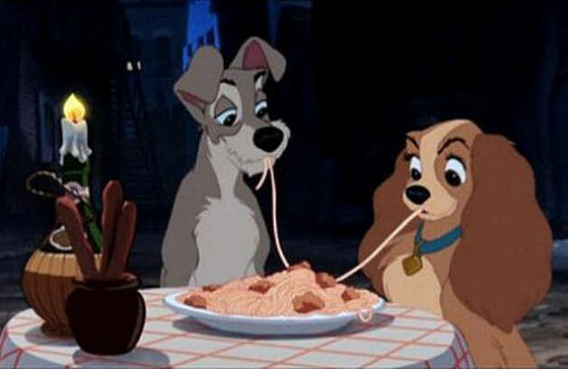 The Lady and the Tramp -- a classic animated kiss.