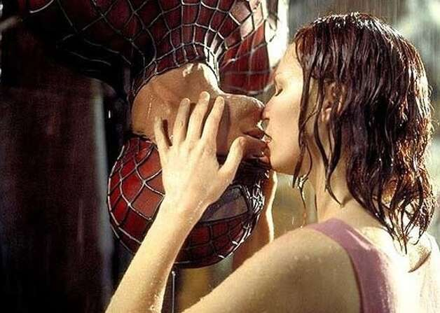 Tobey Maguire and Kirsten Dunst in Spider-Man.