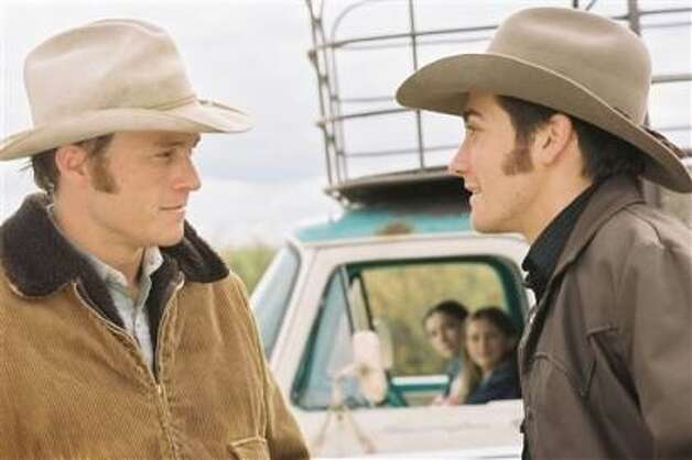 Brokeback Mountain -- breakthrough film from 2005.  The famous kissing scene comes after an early renunion and is witnessed by the wife of one of the men (played by Michelle Williams).