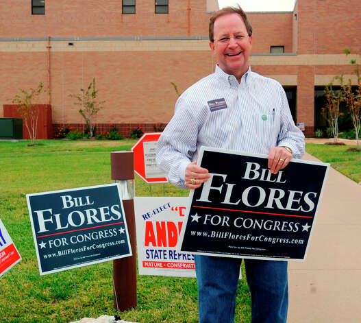 Republican Bill Flores campaigns outside the First Baptist Church of Woodway Tuesday, Nov. 2, 2010 in Waco, Texas, Flores is running against U.S. Rep. Chet Edwards, D-Texas, for the  Texas 17th District seat . Photo: Rod Aydelotte, AP / Waco Tribune Herald