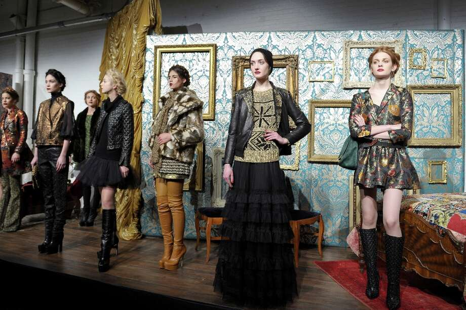 Stacey Bendet's Alice & Olivia fall collection features a mashup of textures and patterns. Photo: Michael Loccisano / 2013 Getty Images