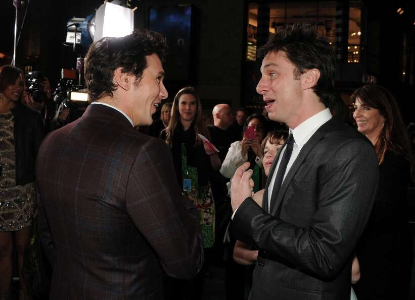 Actors James Franco and actor Zach Braff attend the world premiere of Walt Disney Pictures' Oz The G