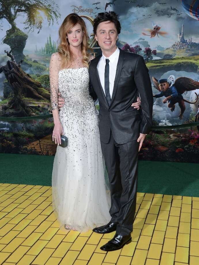 Taylor Bagley and actor Zach Braff attend the Premiere Of Walt Disney Pictures' Oz The Great And Powerful at the El Capitan Theatre on February 13, 2013 in Hollywood, California. Photo: Jason Kempin, Getty Images / 2013 Getty Images