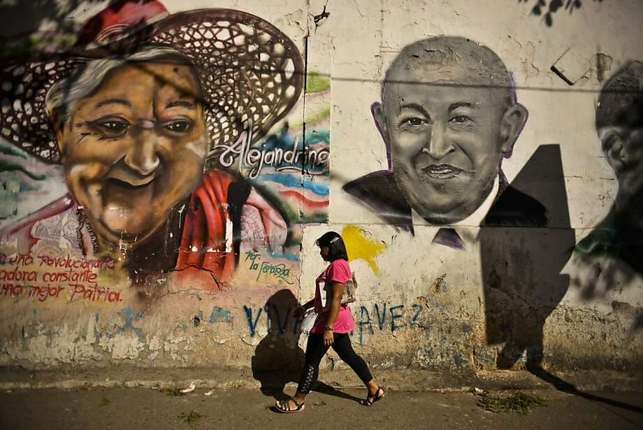 A mural in Caracas, Venezuela, shows a likeness of a bald President Hugo Chavez after undergoing chemotherapy treatment for cancer in Cuba. Under Chavez's inept rule, food prices and inflation have skyrocketed, crime has soared and the nation's currency has been devalued by a third. Photo: Meridith Kohut, Bloomberg