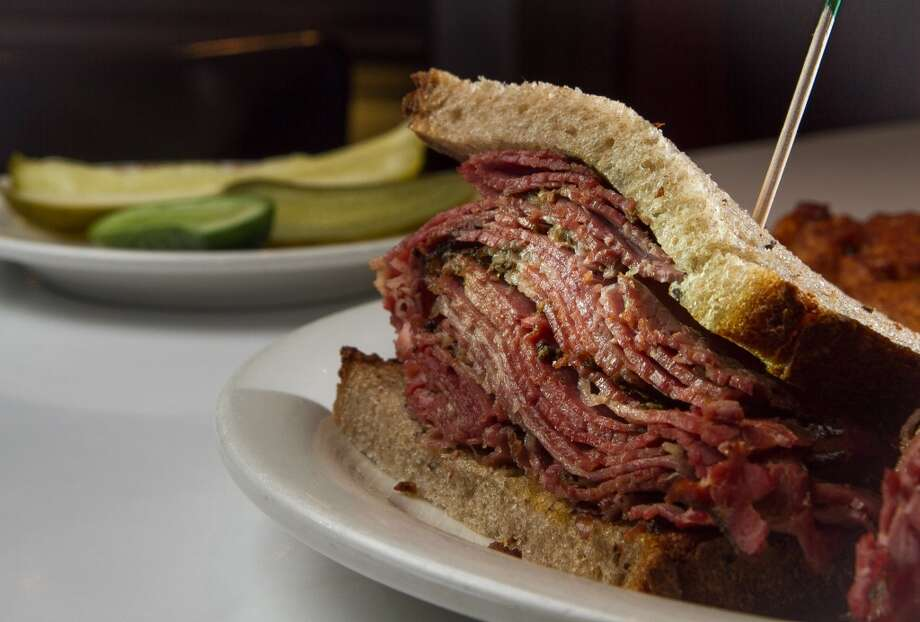 The pastrami sandwich with pickles at Saul's Deli in Berkeley.