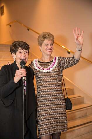 Frannie Fleishhacker and Carey Perloff take the mic during the event. Photo: Drew Altizer Photography