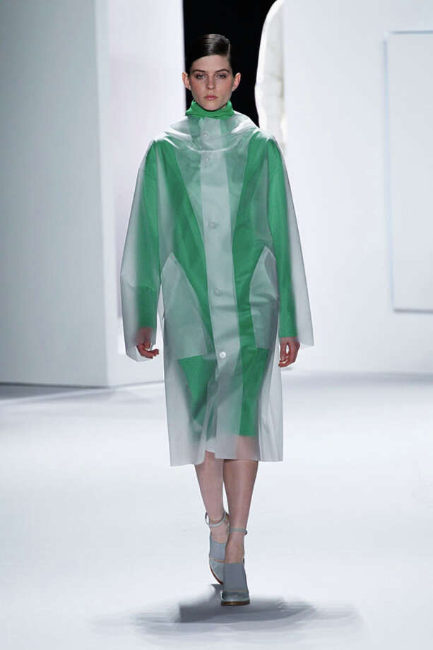Is there something under the raincoat? We can't tell. (Photo by Peter Michael Dills/Getty Images for Mercedes-Benz Fashion Week) Photo: Peter Michael Dills, (Credit Too Long, See Caption) / 2013 Getty Images