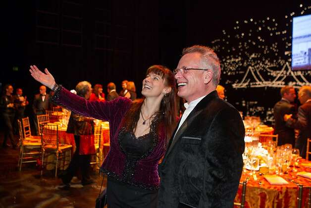 Theresa Keller and Doug Tilden enjoy their view from the stage of the Geary Street theater during A.C.T.'s annual Producers Circle Dinner on February 13, 2013. The event, a thank you for patrons, brought guests onstage for dinner and included special guests and performances. Photo: Drew Altizer Photography
