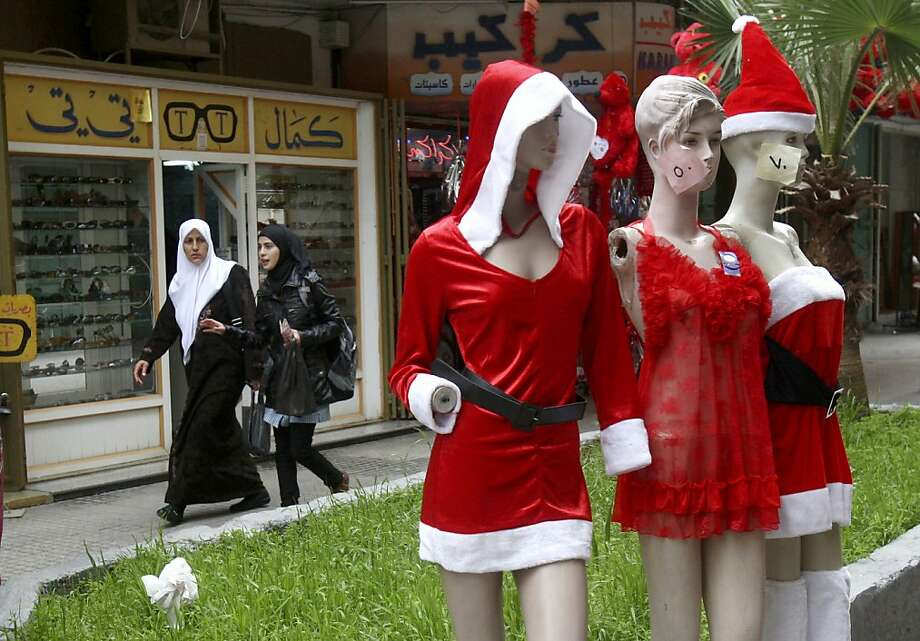 Be my valentine, Santa:Valentine's Day marketing has become big business in the Palestinian territories, although these lingerie items outside a shop in Nablus, West Bank, seem more suited for Christmas. Photo: Nasser Ishtayeh, Associated Press