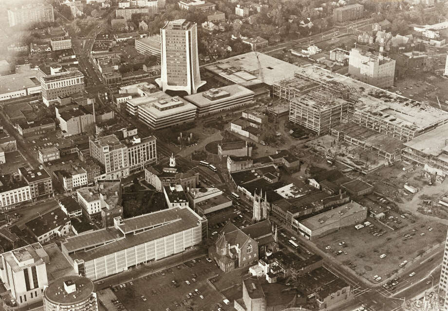 Aerial view of downtown Stamford showing Broad and Atlantic. The Bell Street garage is visible in the foreground. Staff file photo, undated. Photo: ST