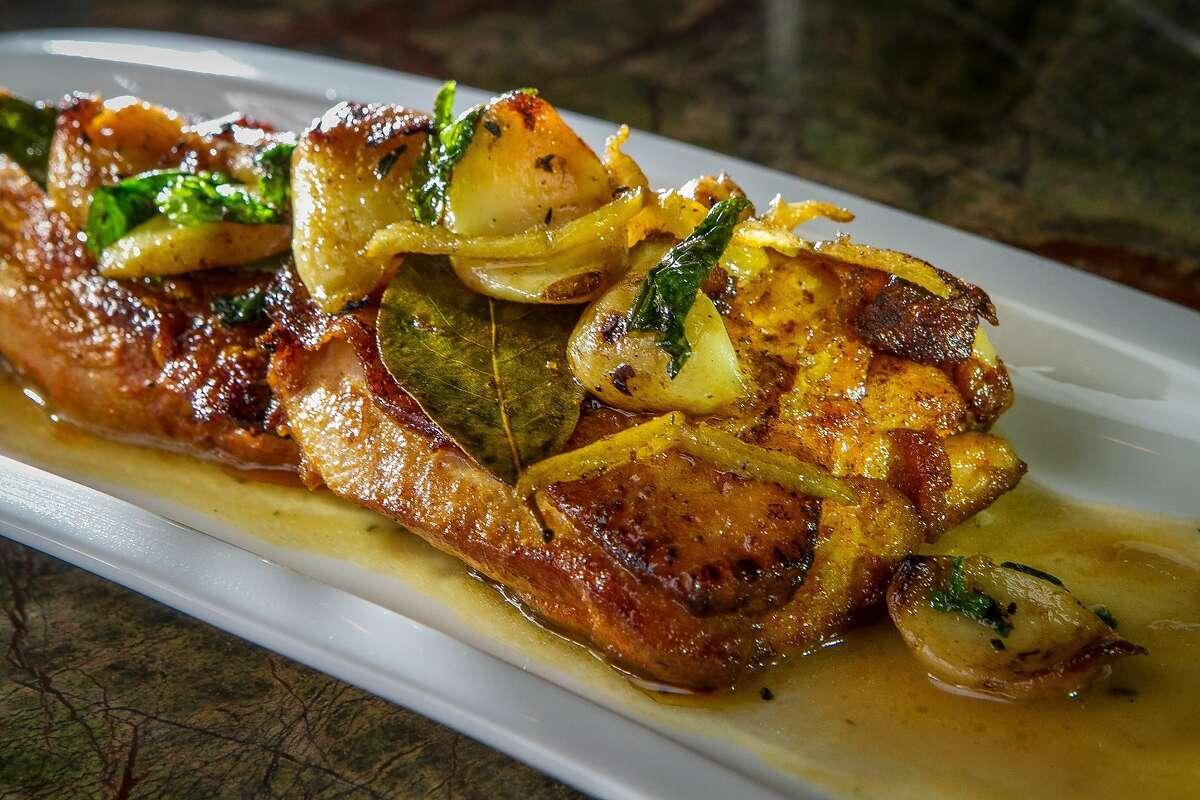The Crispy Skin Chicken Thighs at Bravas Bar de Tapas in Healdsburg, Calif. is seen on Thursday, February 7th, 2013